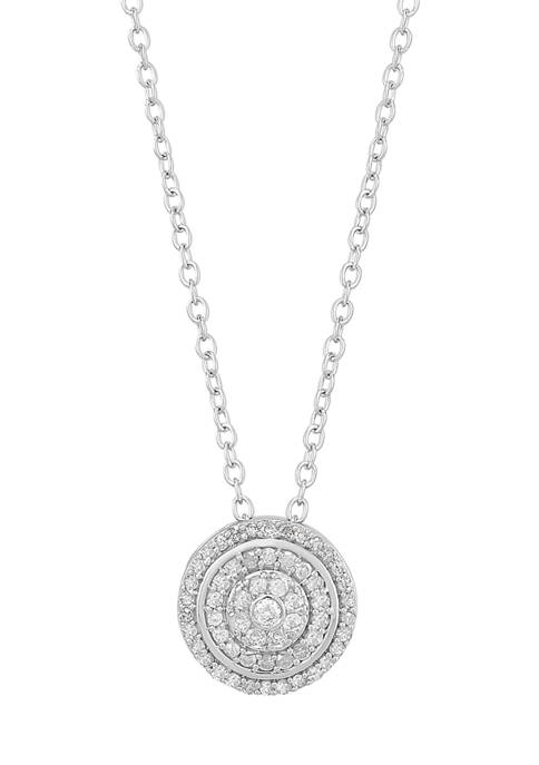 1/4 ct. t.w. Round Diamond Pendant Necklace in Sterling Silver