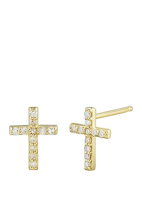1/8 ct. t.w. Diamond Cross Earrings in 10k Yellow Gold