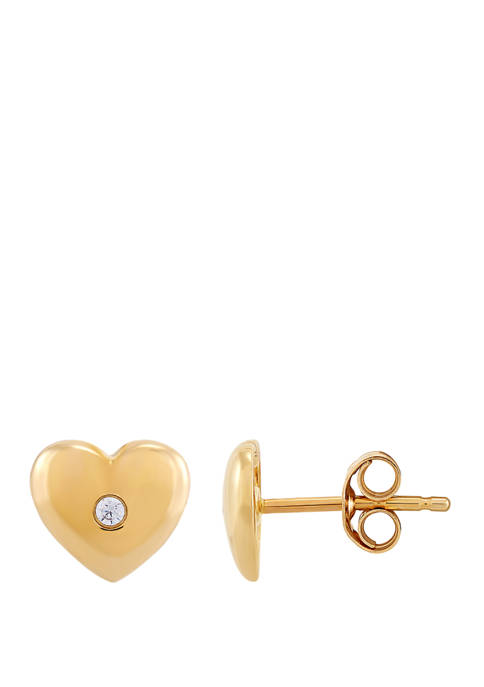 1/10 ct. t.w. Diamond Heart Earrings in 10K Yellow Gold