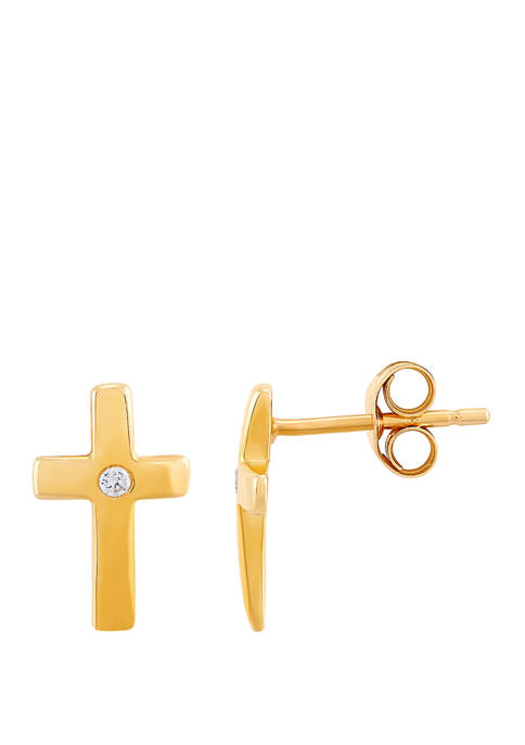 1/10 ct. t.w. Diamond Cross Earrings in 10K Yellow Gold