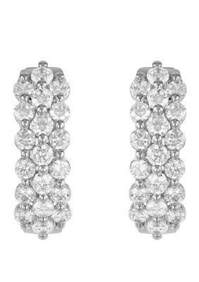 Belk Co. Women 2 Ct. T.W. Diamond Hoop Earrings In 10K White Gold