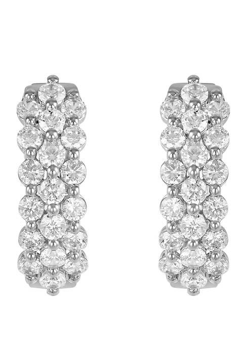 2 ct. t.w. Diamond Hoop Earrings in 10K White Gold