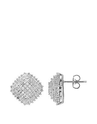 1 Ct T W Diamond Stud Earrings In Sterling Silver