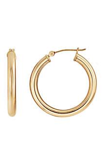 Round Tube Hoop Earrings In 14k Rose Gold