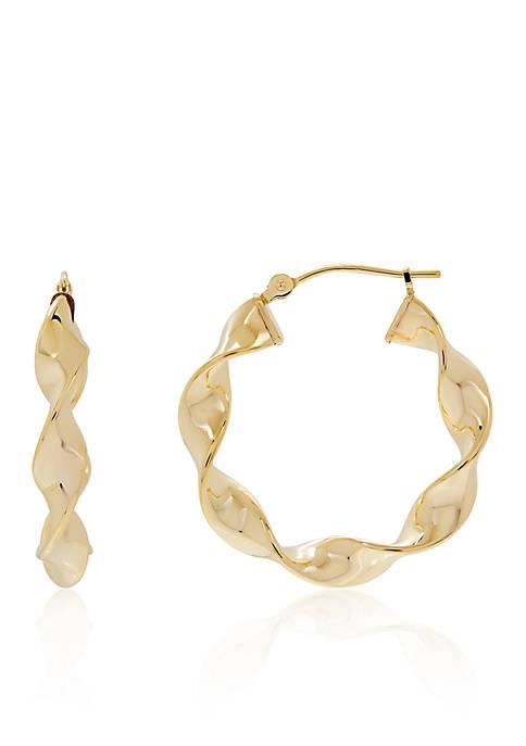 Twist Hoop Earrings in 10K Yellow Gold