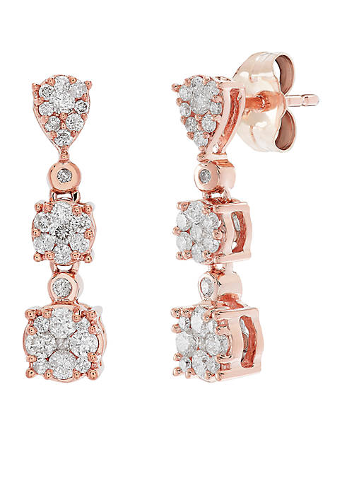 1/2 ct. t.w. Diamond Drop Earrings in 10k Rose and White Gold