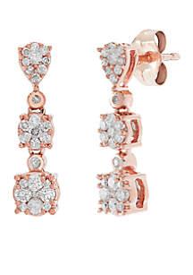 Belk & Co. 1/2 ct. t.w. Diamond Drop Earrings in 10k Rose and White Gold