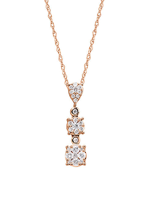 3/8 ct. t.w. Diamond Drop Pendant Necklace in 10k White and Rose Gold