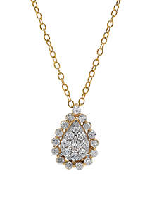 1/2 ct. t.w. Diamond Teardrop Pendant Necklace in 10k Yellow Gold and White Gold