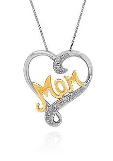 Belk & Co. 0.053 ct. t.w. Diamond Heart Mom Pendant Necklace in Sterling Silver with 14k Yellow Gold
