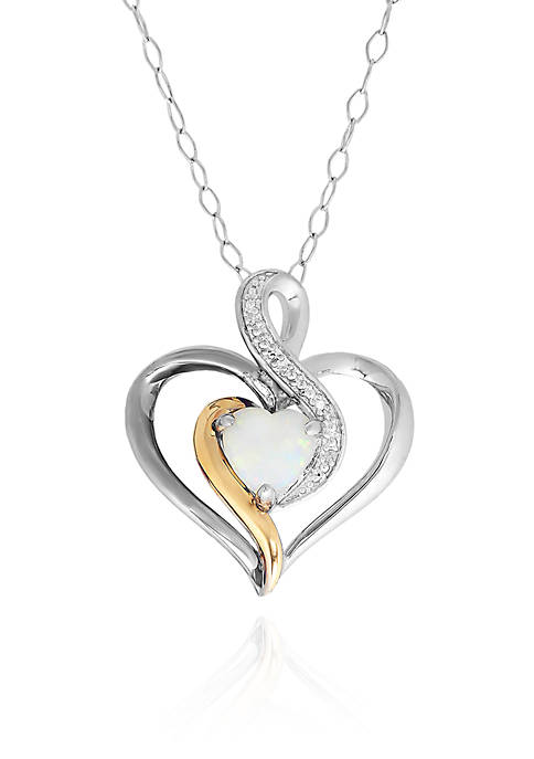 Belk & Co. Opal Heart Pendant in Sterling