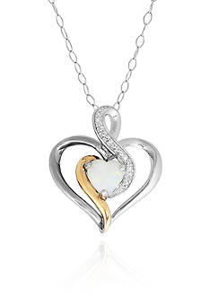 Belk & Co. Opal Heart Pendant in Sterling Silver with 14k Yellow Gold