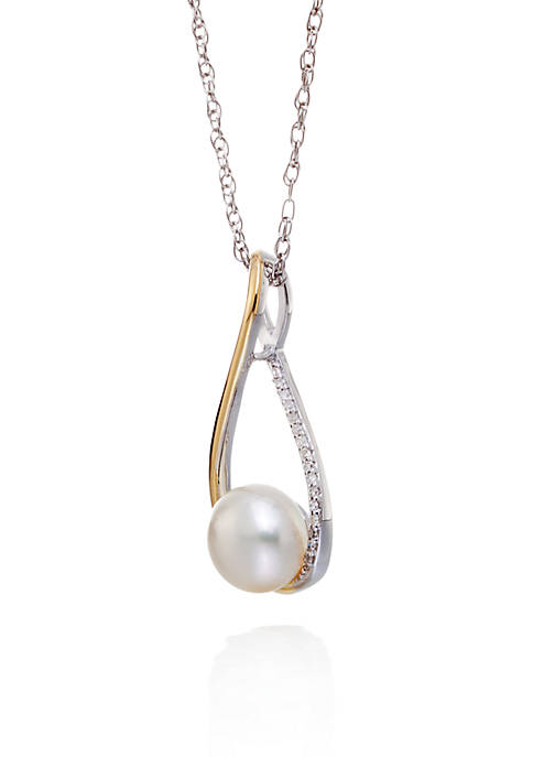 Belk & Co. Freshwater Pearl & Diamond Pendant