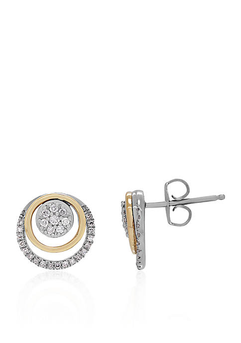 1/4 ct. t.w. Diamond Circle Stud Earrings in Sterling Silver & 14K Yellow Gold