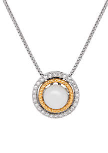 Sterling Silver 14K Yellow Gold Diamond & Pearl Pendant Necklace