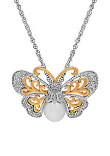 Sterling Silver 14K Gold And Pearl Butterfly Pendant Necklace