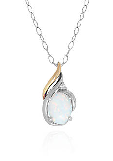 Belk & Co. Created Opal and White Sapphire Pendant in Silver Silver with 14k Yellow Gold