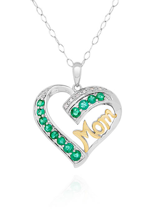Belk & Co. Created Emerald and Diamond Heart