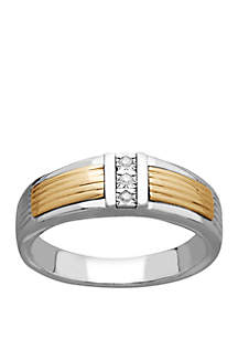 Belk & Co. 1/10 ct. t.w. Diamond Band Ring in Sterling Silver and 14k Yellow Gold