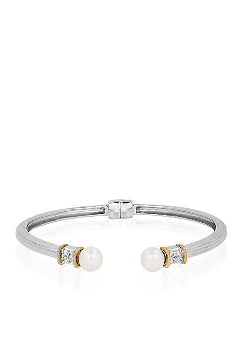 Freshwater Pearl & White Topaz Bangle in Sterling Silver & 14K Yellow Gold