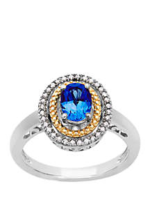 1 ct. t.w. Sapphire and 1/10 Diamond Cocktail Ring in Sterling Silver and 14K Yellow Gold
