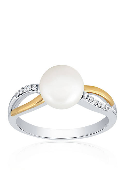 Belk & Co. Freshwater Pearl & Diamond Ring
