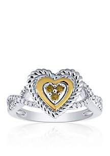 0.16 ct. t.w. Diamond Heart Promise Ring in Sterling Silver and 14k Yellow Gold