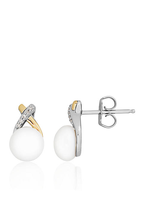 Belk & Co. Freshwater Pearl & Diamond Stud