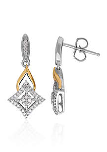Diamond Earrings in Sterling Silver and 10k Yellow Gold