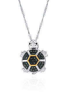 Belk & Co. 1/5 ct. t.w. Diamond Turtle Pendant in Sterling Silver and 10k Yellow Gold