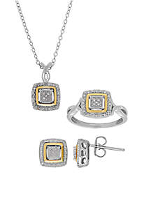 1/10 ct. t.w. Diamond Earrings Ring and Pendant in Sterling Silver & 10K Yellow Gold - Square Boxed Set