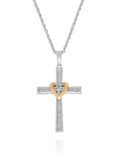 0.10 ct. t.w. Diamond Cross/Heart Pendant in Sterling Silver & 10K Yellow Gold