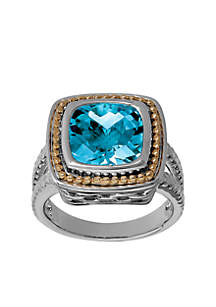 4.75 ct. t.w. Designer Blue Topaz Ring in Sterling Silver and 10K Gold Border