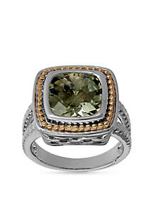 Sterling Silver and 10k Yellow Gold Green Amethyst Cushion Ring