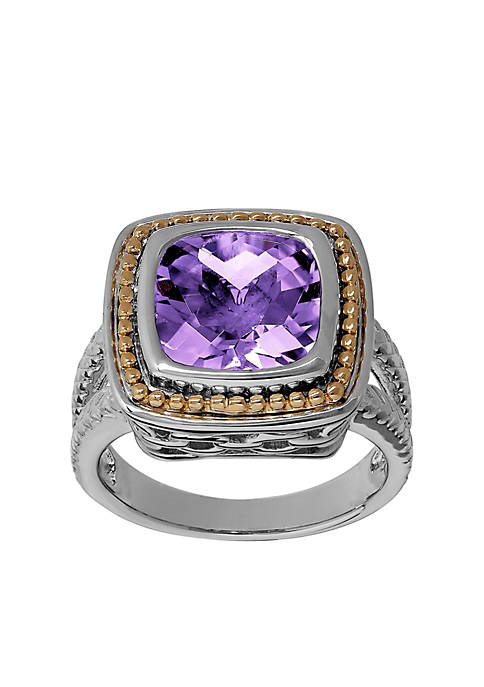 Amethyst Stone Ring in Sterling Silver and 10k Yellow Gold