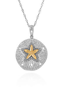 1/10 ct. t.w. Diamond Sand Dollar Pendant in Sterling Silver and 10k Yellow Gold