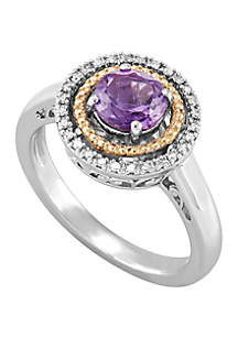 Belk & Co. Amethyst with 0.08 ct. t.w. Diamond Ring in Sterling Silver/14k Yellow Gold