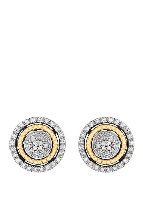 1/5 ct. t.w. Diamond Stud Earrings in 14k Yellow Gold/Sterling Silver