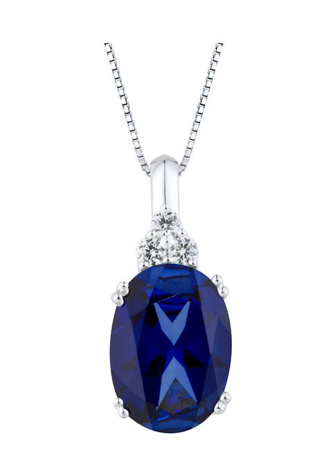 9.5 ct. t.w. Lab Created Ceylon Sapphire and Lab Created White Sapphire Pendant in 10K White Gold