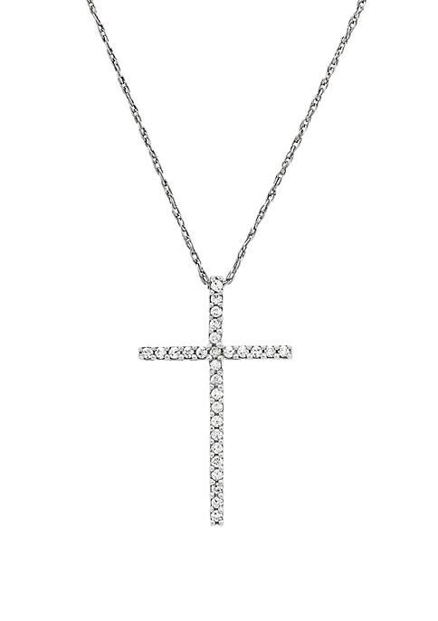1/4 ct. t.w. Diamond Cross Pendant Necklace in Sterling Silver