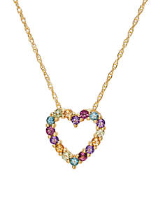 Multi Color Heart Pendant Necklace in 10k Yellow Gold