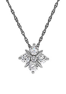 3/8 ct. t.w. Diamond Shape Pendant Necklace in 10k White Gold