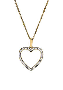 1/4 ct. t.w. Diamond Heart Pendant Necklace in 10k Yellow Gold