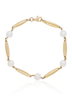 Belk & Co. Freshwater Pearl Alternating Bar Bracelet in 14k Yellow Gold