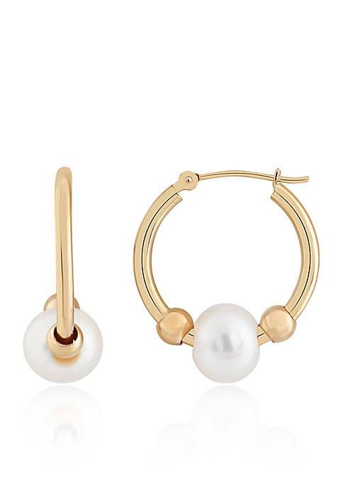 Freshwater Pearl Hoop Earrings in 10K Yellow Gold