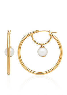 Belk & Co. Freshwater Pearl Hoop Earrings in 14k Yellow Gold