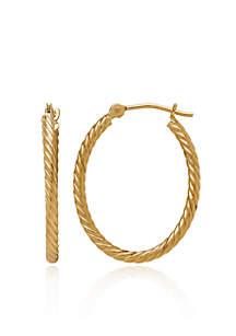 Twist Oval Hoop Earrings in 14K Yellow Gold