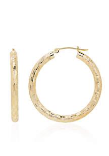 Check Hoop Earrings in 14K Yellow Gold
