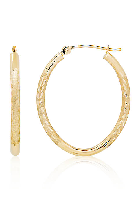 Oval Hoop Earrings in 14K Yellow Gold