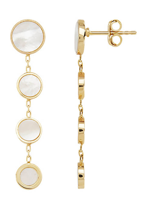 Mother of Pearl Earrings in 14K Yellow Gold